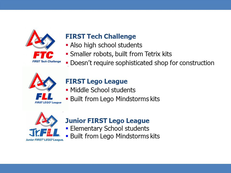 27 FIRST Tech Challenge  Also high school students  Smaller robots, built from Tetrix kits  Doesn't require sophisticated shop for construction Oth