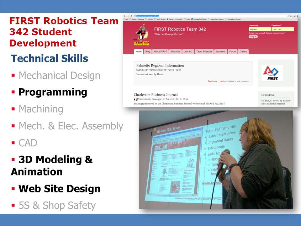 31 Technical Skills  Mechanical Design  Programming  Machining  Mech.