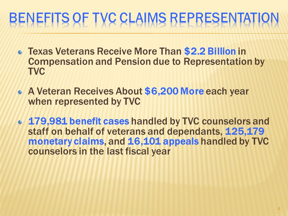 Texas Veterans Receive More Than $2.2 Billion in Compensation and Pension due to Representation by TVC A Veteran Receives About $6,200 More each year when represented by TVC 179,981 benefit cases handled by TVC counselors and staff on behalf of veterans and dependants, 125,179 monetary claims, and 16,101 appeals handled by TVC counselors in the last fiscal year 4