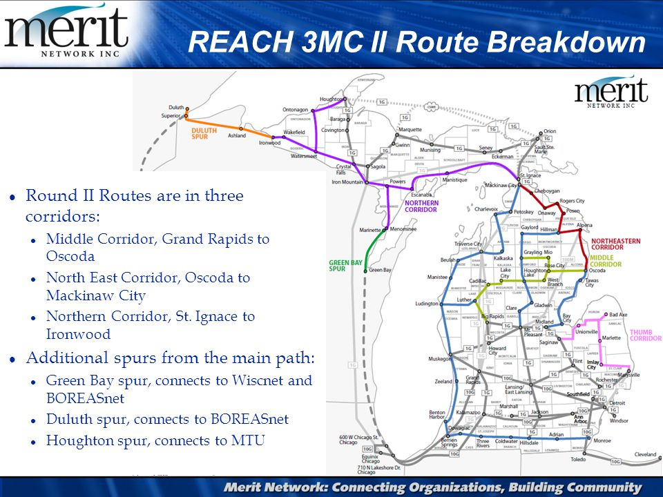 REACH 3MC II Route Breakdown l Round II Routes are in three corridors: l Middle Corridor, Grand Rapids to Oscoda l North East Corridor, Oscoda to Mackinaw City l Northern Corridor, St.