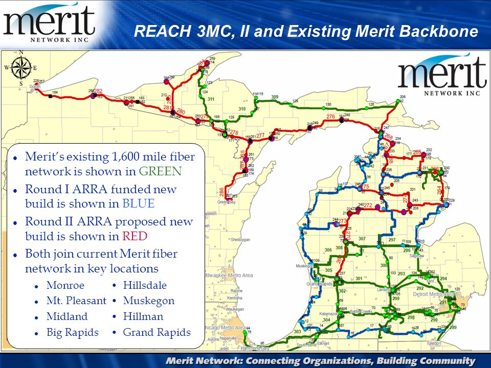 REACH 3MC, II and Existing Merit Backbone l Merit's existing 1,600 mile fiber network is shown in GREEN l Round I ARRA funded new build is shown in BLUE l Round II ARRA proposed new build is shown in RED l Both join current Merit fiber network in key locations l MonroeHillsdale l Mt.