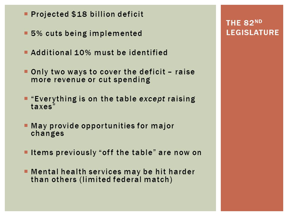  Projected $18 billion deficit  5% cuts being implemented  Additional 10% must be identified  Only two ways to cover the deficit – raise more reve