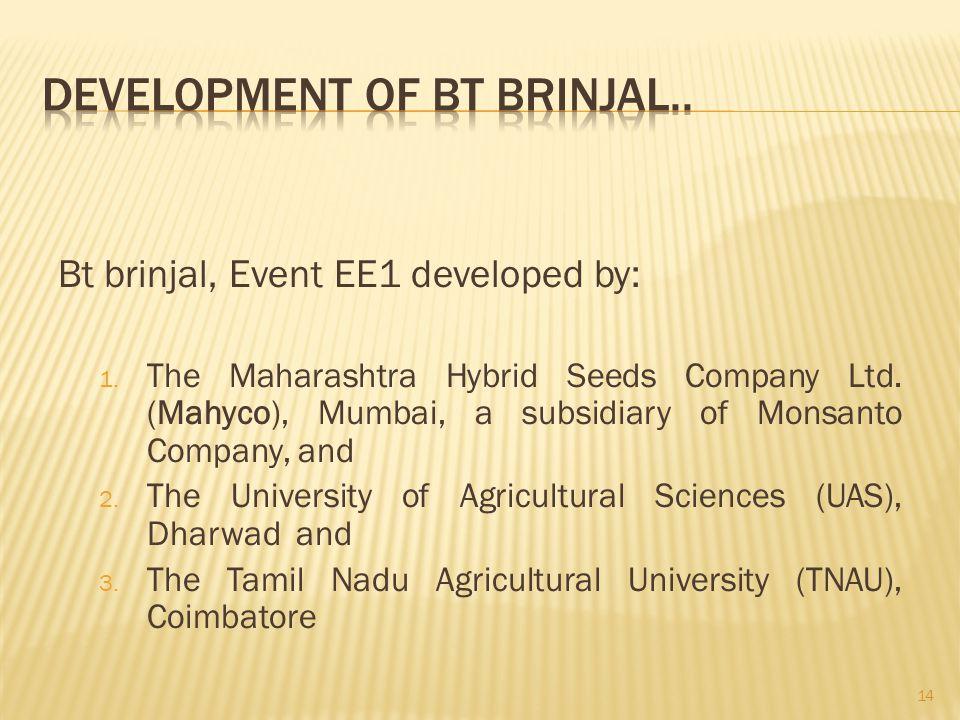 Bt brinjal, Event EE1 developed by: 1. The Maharashtra Hybrid Seeds Company Ltd. (Mahyco), Mumbai, a subsidiary of Monsanto Company, and 2. The Univer