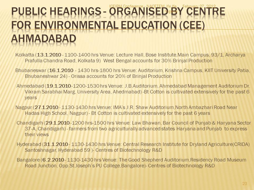 Kolkatta (13.1.2010 - 1100-1400 hrs Venue: Lecture Hall, Bose Institute,Main Campus, 93/1, Archarya Prafulla Chandra Road, Kolkata 9) West Bengal acco
