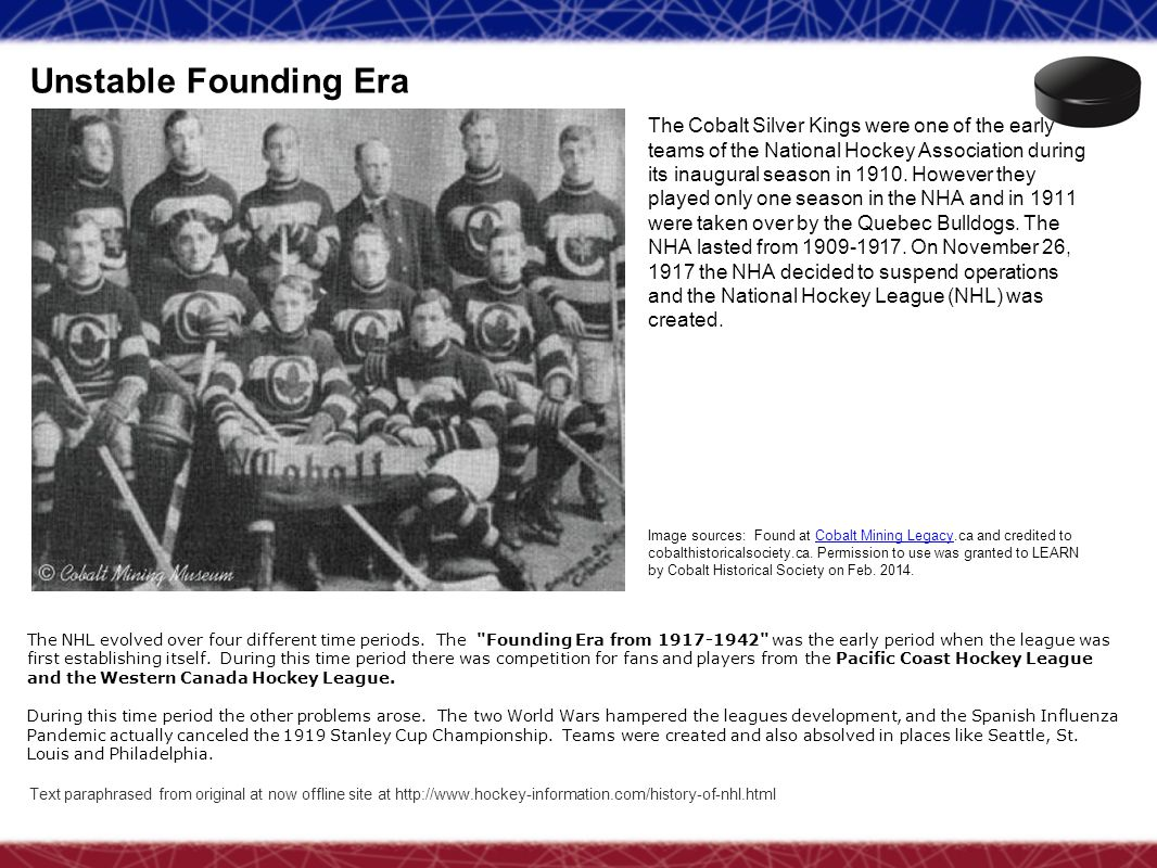Unstable Founding Era Text paraphrased from original at now offline site at http://www.hockey-information.com/history-of-nhl.html The Cobalt Silver Ki