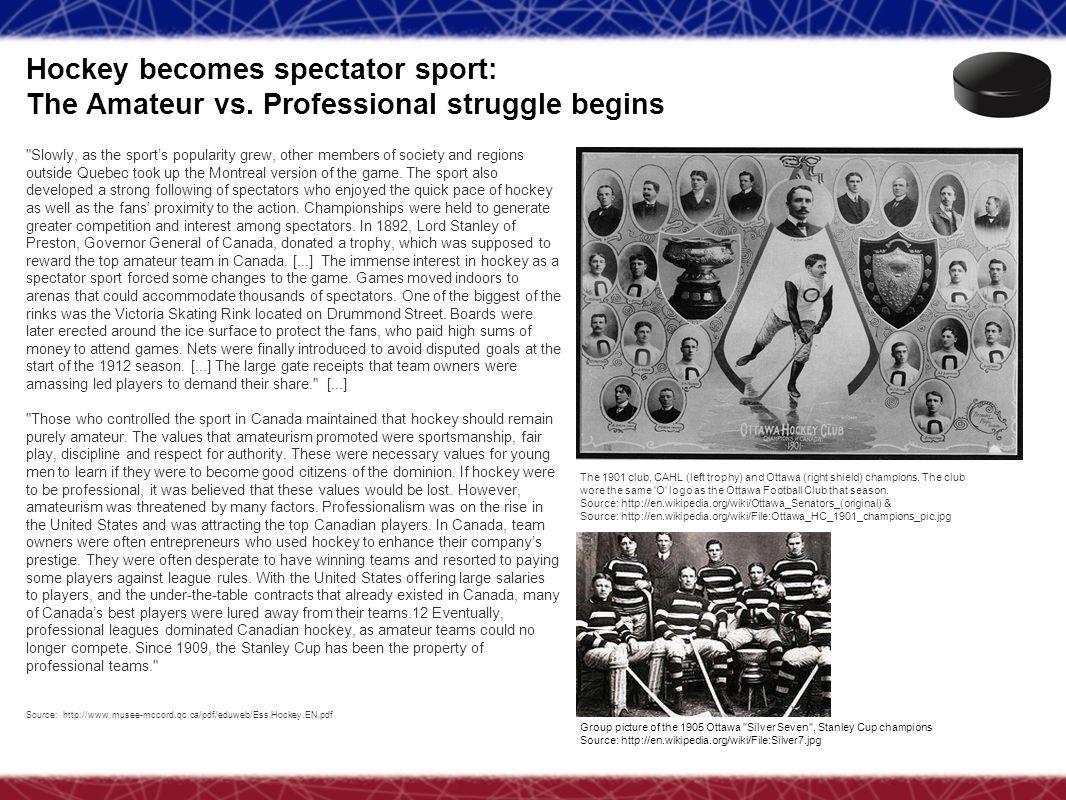 Hockey becomes spectator sport: The Amateur vs. Professional struggle begins