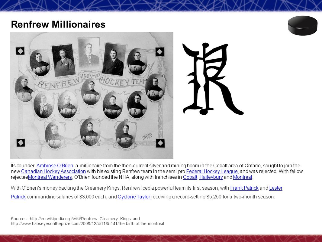 Renfrew Millionaires Sources: http://en.wikipedia.org/wiki/Renfrew_Creamery_Kings and http://www.habseyesontheprize.com/2009/12/4/1185141/the-birth-of