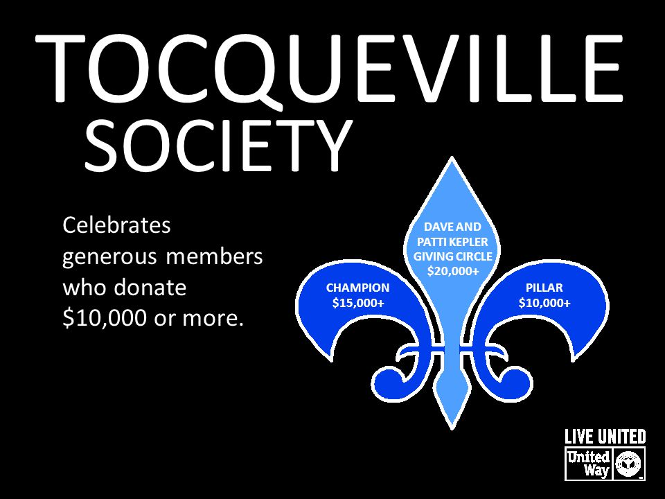 TOCQUEVILLE SOCIETY Celebrates generous members who donate $10,000 or more. DAVE AND PATTI KEPLER GIVING CIRCLE $20,000+ CHAMPION $15,000+ PILLAR $10,