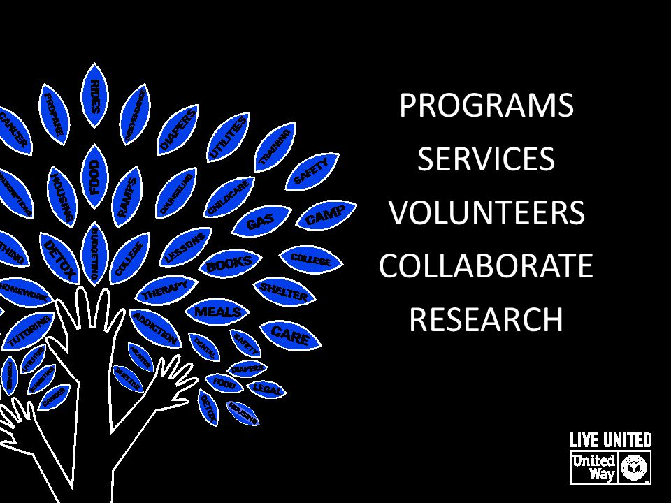 PROGRAMS SERVICES VOLUNTEERS COLLABORATE RESEARCH