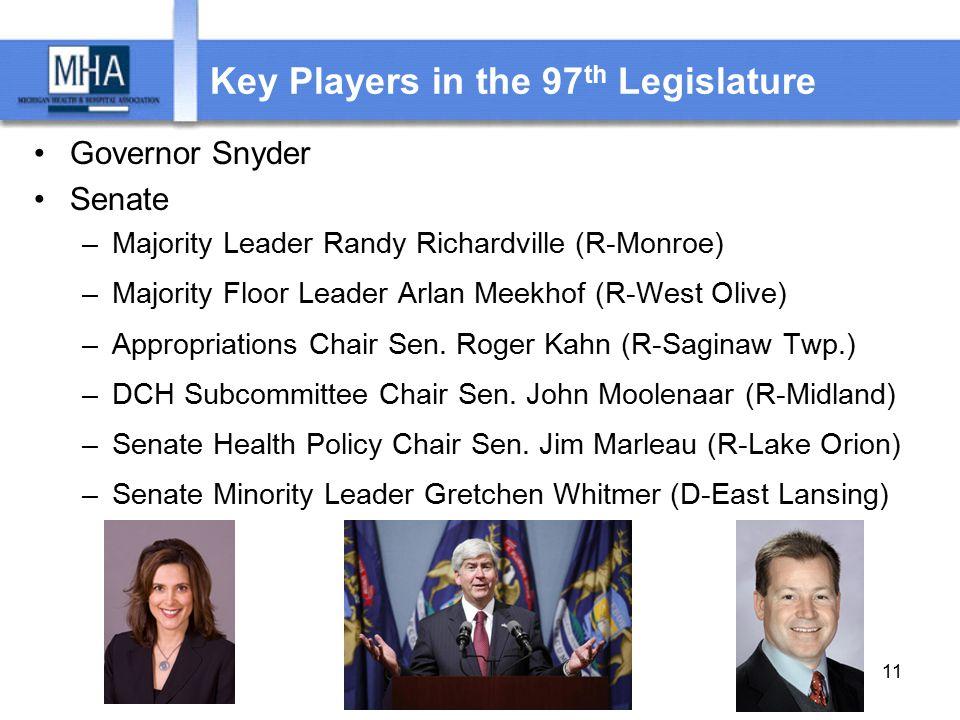 Key Players in the 97 th Legislature Governor Snyder Senate –Majority Leader Randy Richardville (R-Monroe) –Majority Floor Leader Arlan Meekhof (R-West Olive) –Appropriations Chair Sen.