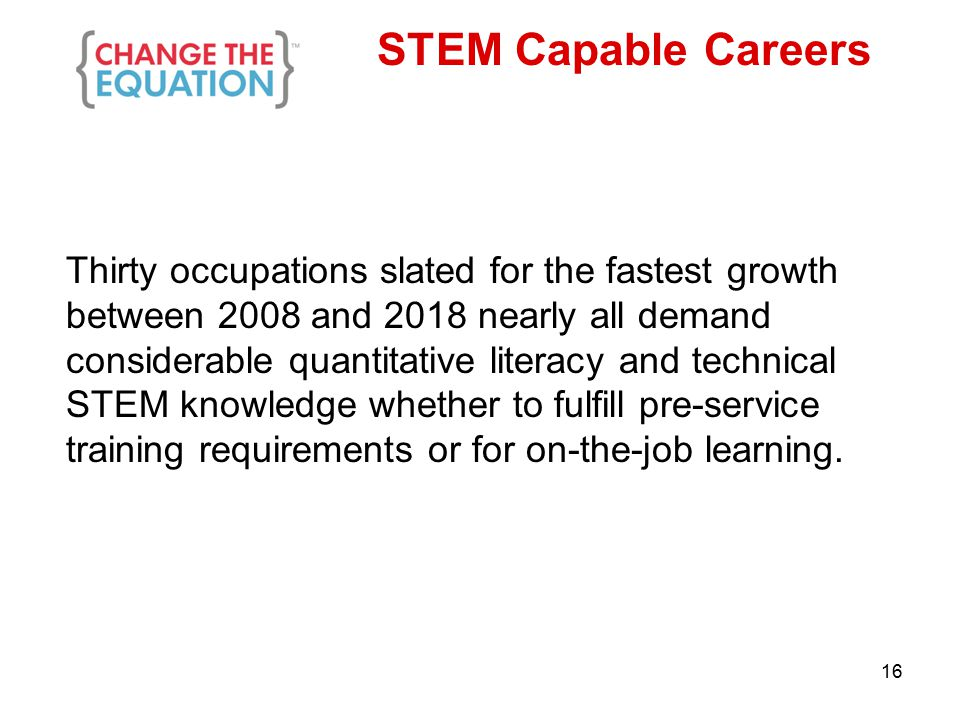STEM Capable Careers Thirty occupations slated for the fastest growth between 2008 and 2018 nearly all demand considerable quantitative literacy and technical STEM knowledge whether to fulfill pre-service training requirements or for on-the-job learning.