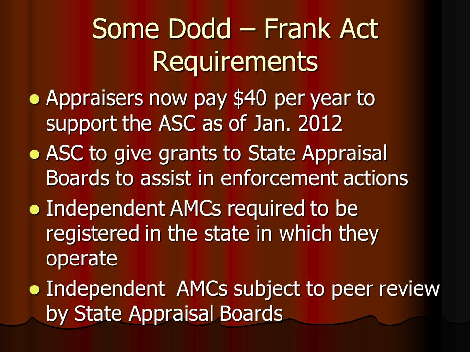 Some Dodd – Frank Act Requirements Mandates customary and reasonable fees for appraisers (Now assigned to the BCFP) Mandates customary and reasonable