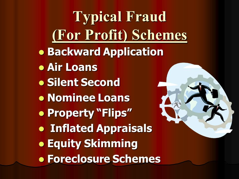 Types of Fraud Fraud for Profit Often involves industry professionals Often involves industry professionals Multiple loan transactions and/or institut