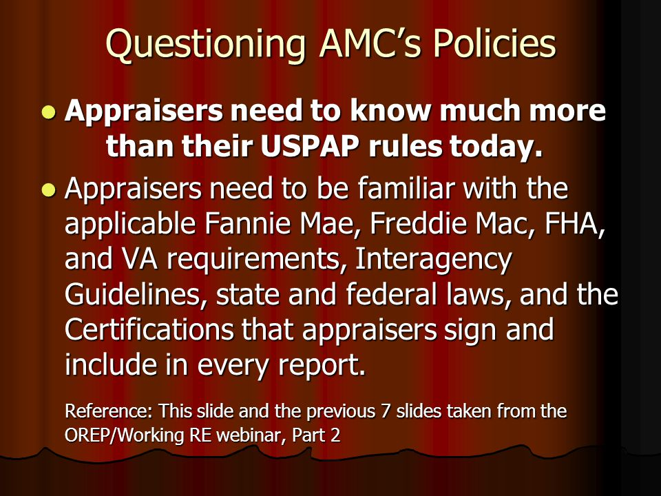 Questioning AMC's Policies Is it legal for an FHA appraisal to include a fee for management of the appraisal process? NO. NO.