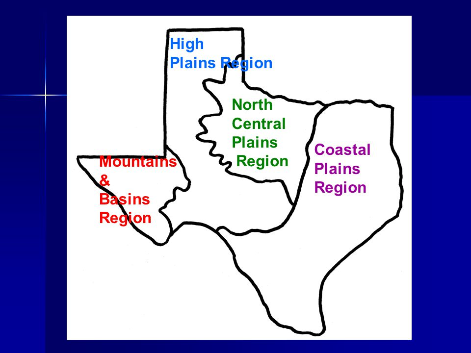Coastal Plains Region North Central Plains Region High Plains Region Mountains & Basins Region