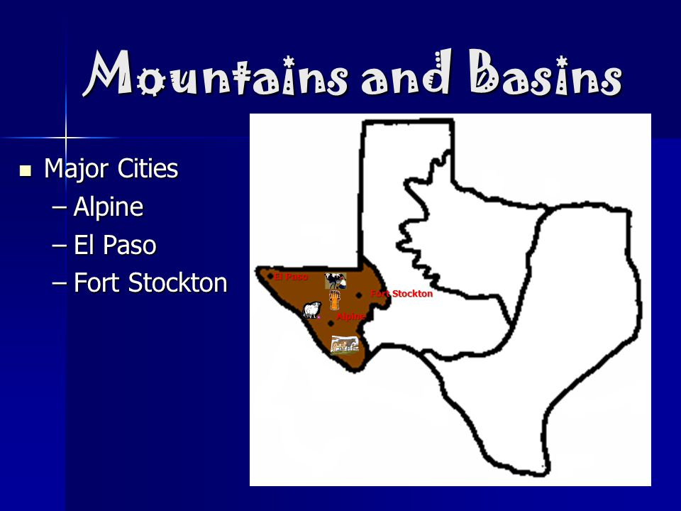 Mountains and Basins Major Cities Major Cities –Alpine –El Paso –Fort Stockton El Paso Alpine Fort Stockton