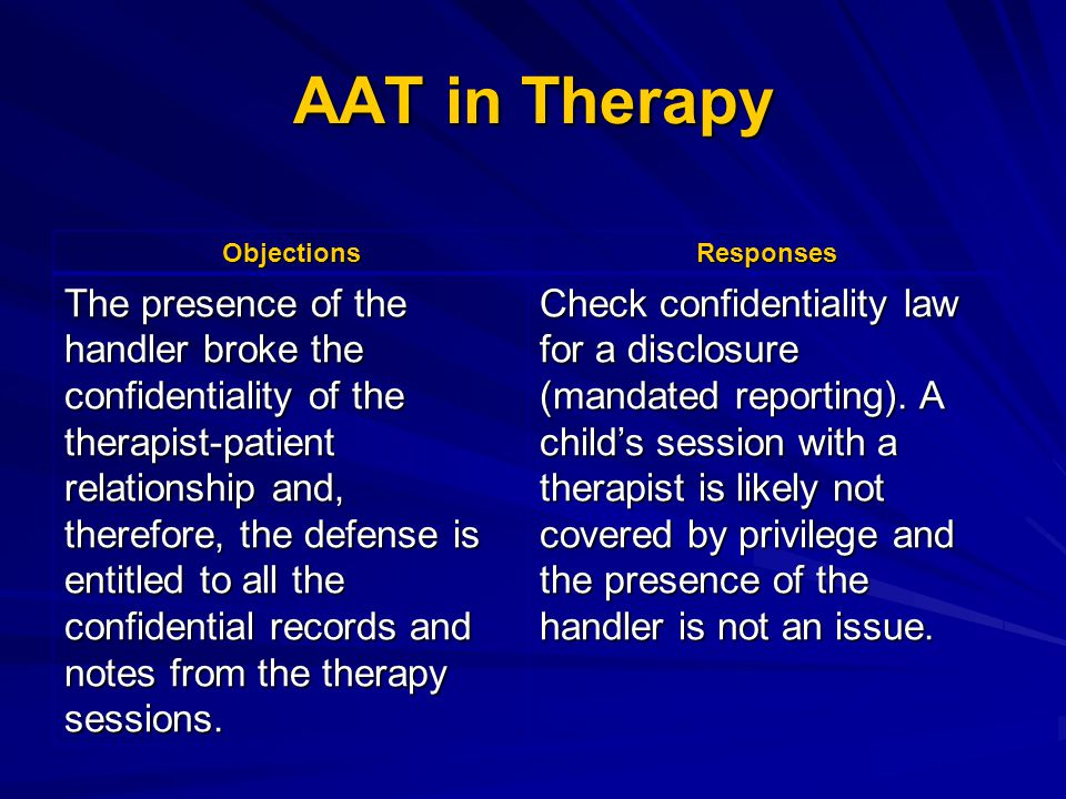 AAT in Therapy ObjectionsResponses The presence of the handler broke the confidentiality of the therapist-patient relationship and, therefore, the def