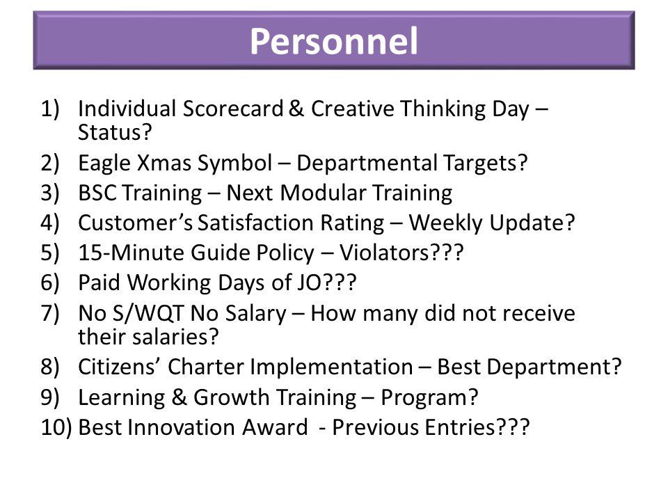 Personnel 1)Individual Scorecard & Creative Thinking Day – Status.