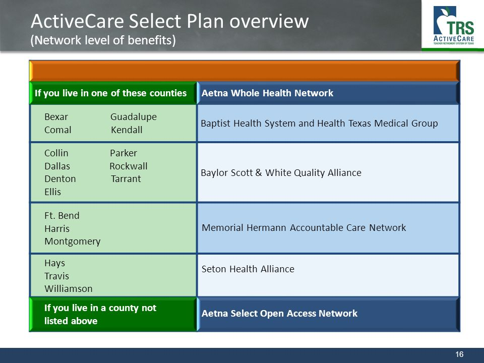 16 ActiveCare Select Plan overview (Network level of benefits) If you live in one of these countiesAetna Whole Health Network Bexar Guadalupe Comal Ke