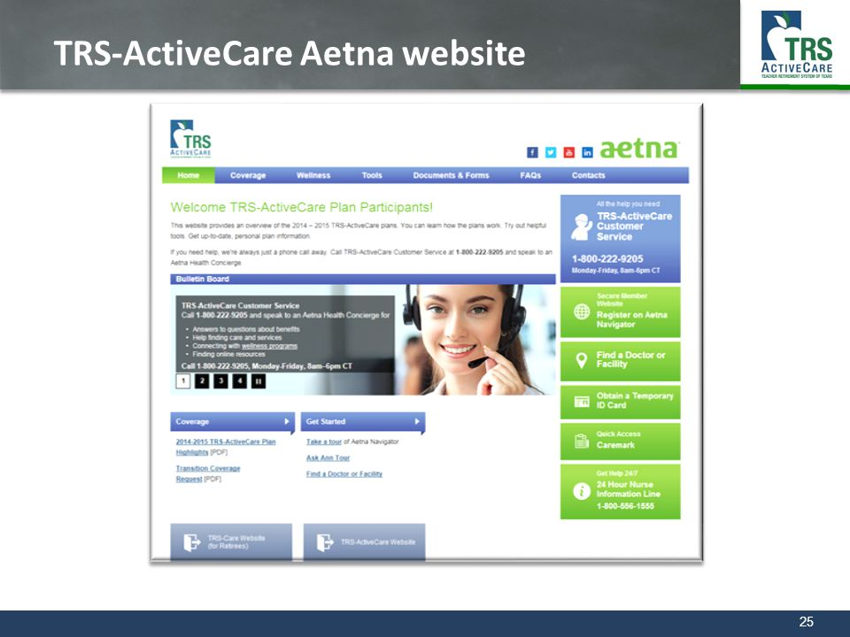 25 TRS-ActiveCare Aetna website