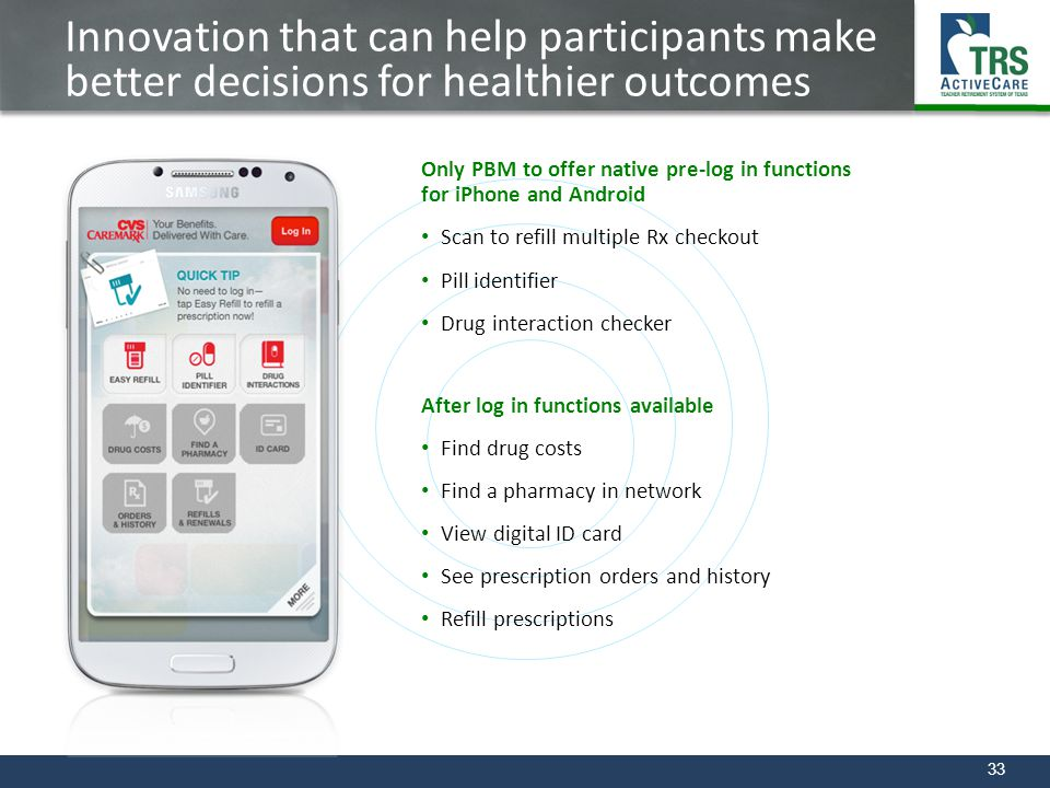 33 Innovation that can help participants make better decisions for healthier outcomes Only PBM to offer native pre-log in functions for iPhone and And