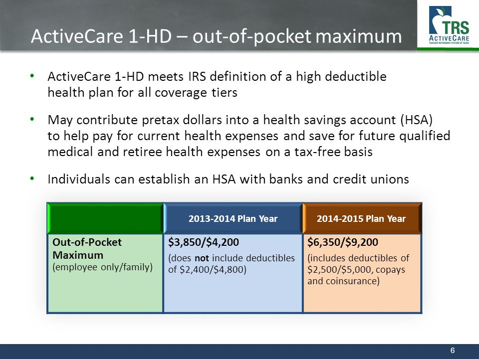 6 ActiveCare 1-HD – out-of-pocket maximum ActiveCare 1-HD meets IRS definition of a high deductible health plan for all coverage tiers May contribute