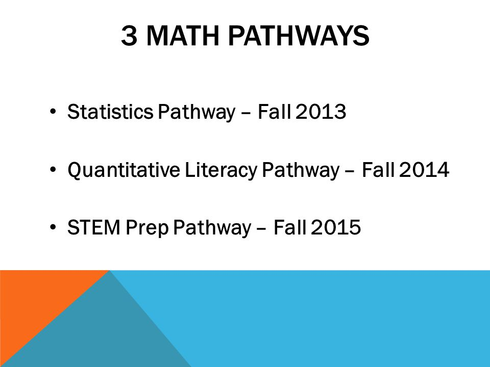 NMP STAT PATHWAY RECRUITMENT FOR FALL 2013 Students who are currently enrolled in MATH 0310 as well as incoming students who qualify for MATH 0330 will be informed of this opportunity for next academic year