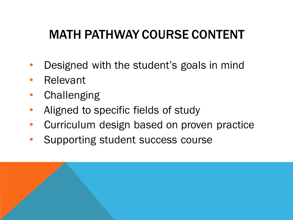 IMPACT ON STUDENTS CURRENT STATISTICS PATHWAY COST: up to 15 SCHs TIME: 4 semesters NMP STATISTICS PATHWAY COST: up to 13 SCHs TIME: 3 semesters
