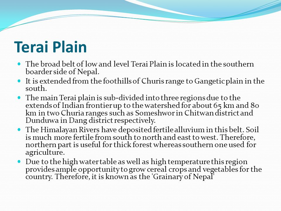 Terai Plain The broad belt of low and level Terai Plain is located in the southern boarder side of Nepal.