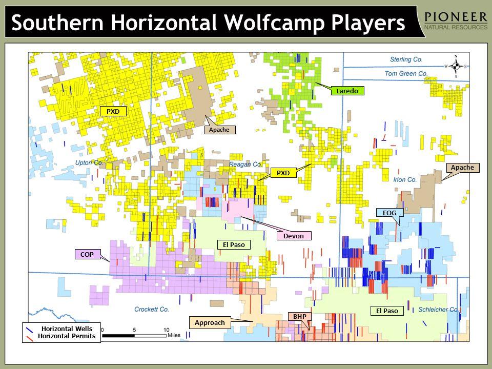 Southern Horizontal Wolfcamp Players PXD COP Devon El Paso EOG BHP Approach Laredo Apache Horizontal Wells Horizontal Permits