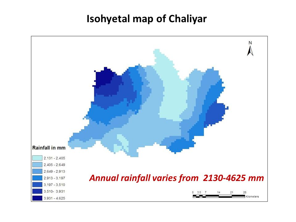 Isohyetal map of Chaliyar Annual rainfall varies from 2130-4625 mm