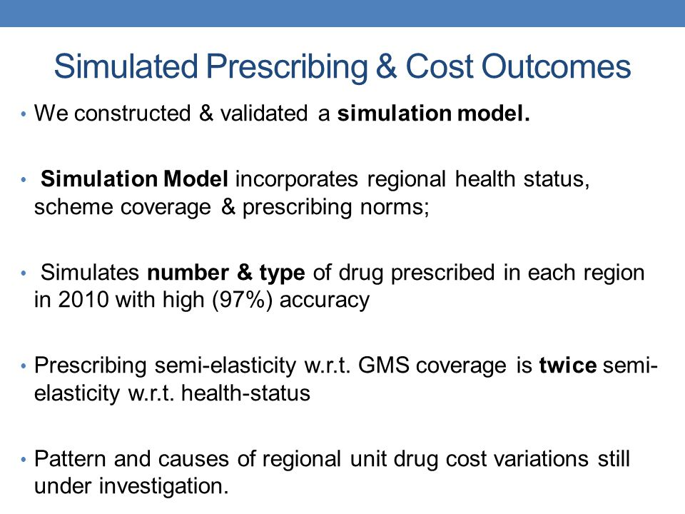 Simulated Prescribing & Cost Outcomes We constructed & validated a simulation model.