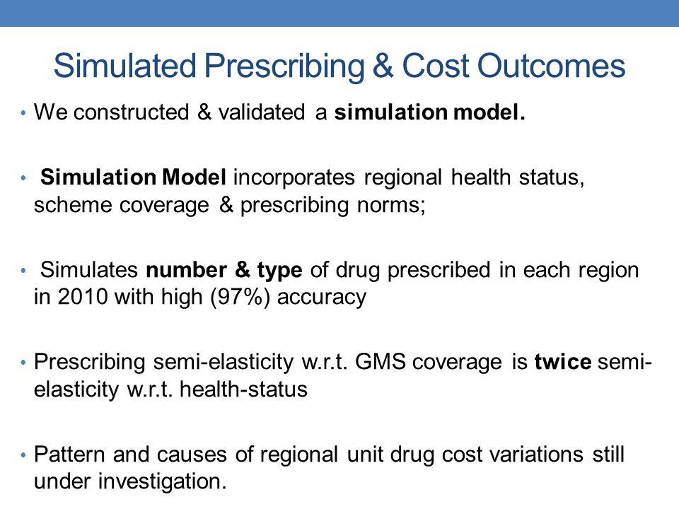 Simulated Prescribing & Cost Outcomes We constructed & validated a simulation model. Simulation Model incorporates regional health status, scheme cove