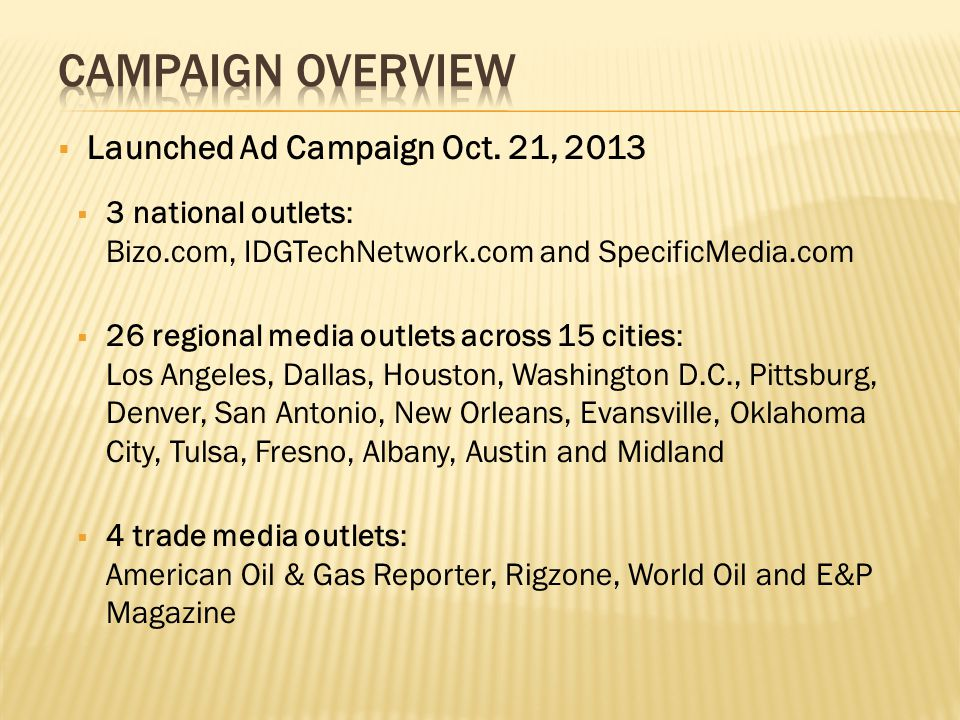  Launched Ad Campaign Oct.