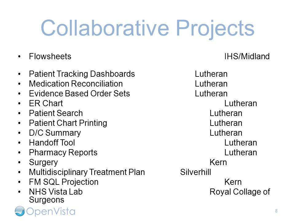 Collaborative Projects FlowsheetsIHS/Midland Patient Tracking DashboardsLutheran Medication ReconciliationLutheran Evidence Based Order SetsLutheran ER ChartLutheran Patient SearchLutheran Patient Chart PrintingLutheran D/C SummaryLutheran Handoff ToolLutheran Pharmacy ReportsLutheran SurgeryKern Multidisciplinary Treatment PlanSilverhill FM SQL ProjectionKern NHS Vista LabRoyal Collage of Surgeons 8