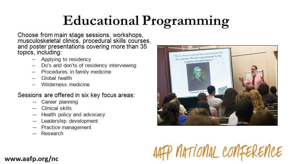 Educational Programming Choose from main stage sessions, workshops, musculoskeletal clinics, procedural skills courses, and poster presentations cover