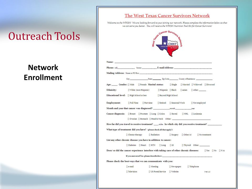 Outreach Tools Network Enrollment