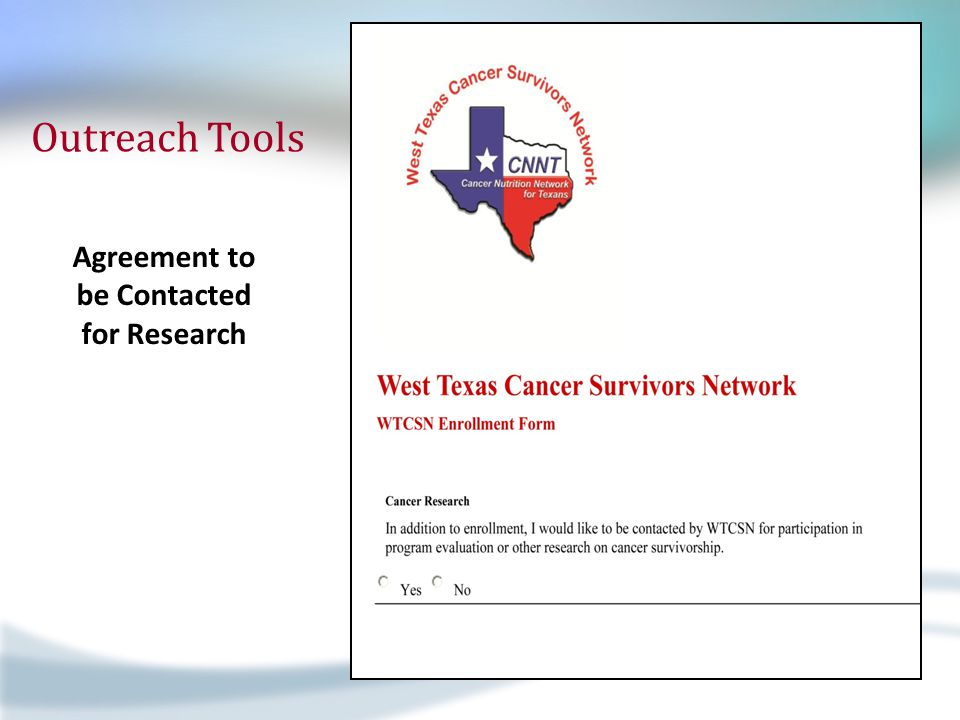 Outreach Tools Agreement to be Contacted for Research