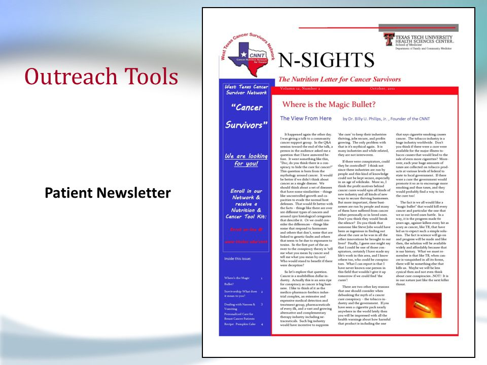 Outreach Tools Patient Newsletter A Fresh Look at Exercise 2 Age and Cancer Risk 3 It's Never Too Late Teachable Moments 3 Preventable Cancers Nat'l Nutrition Month 4