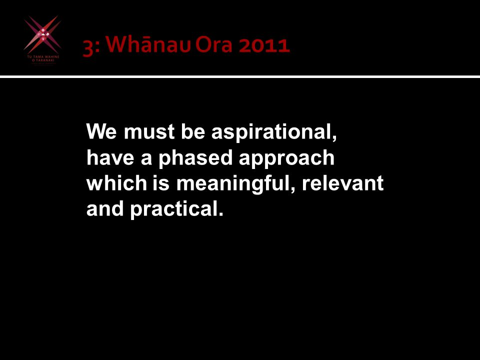 We must be aspirational, have a phased approach which is meaningful, relevant and practical.