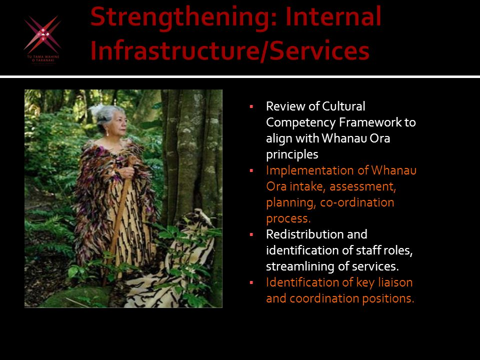  Review of Cultural Competency Framework to align with Whanau Ora principles  Implementation of Whanau Ora intake, assessment, planning, co-ordination process.