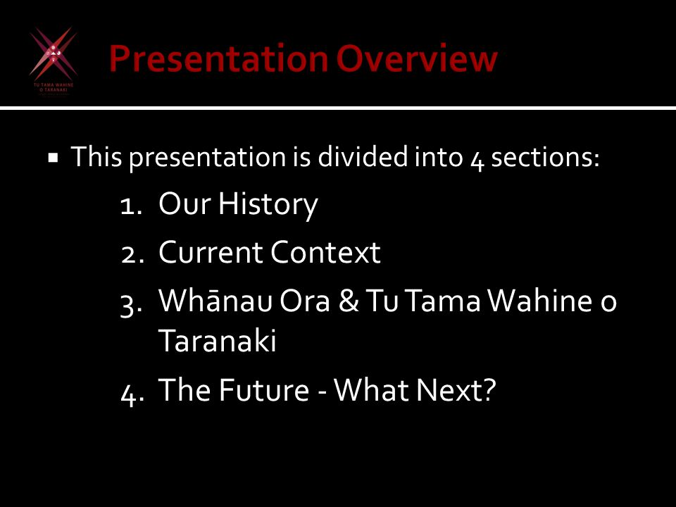  This presentation is divided into 4 sections: 1.Our History 2.Current Context 3.Wh ā nau Ora & Tu Tama Wahine o Taranaki 4.The Future - What Next