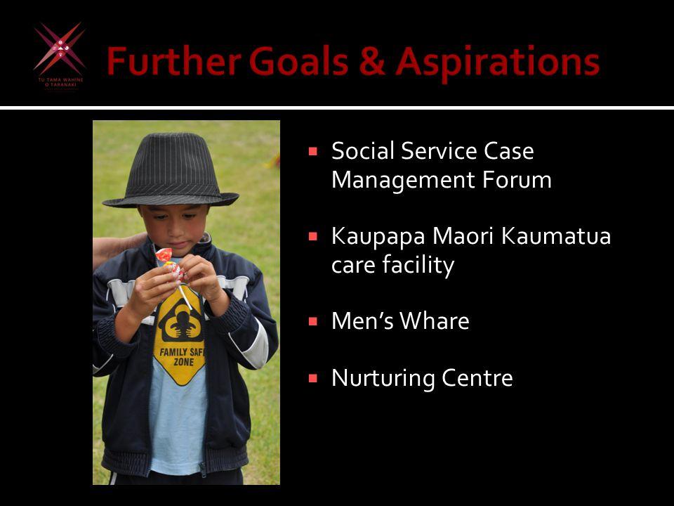  Social Service Case Management Forum  Kaupapa Maori Kaumatua care facility  Men's Whare  Nurturing Centre