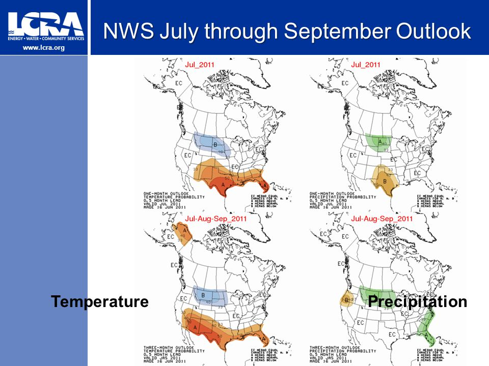 www.lcra.org NWS July through September Outlook TemperaturePrecipitation