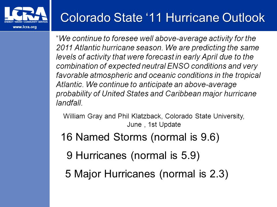 www.lcra.org Colorado State '11 Hurricane Outlook We continue to foresee well above-average activity for the 2011 Atlantic hurricane season.