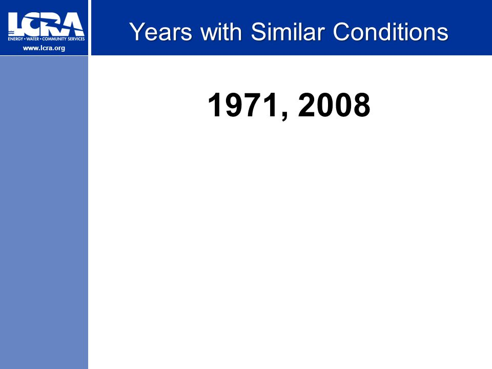 www.lcra.org Years with Similar Conditions 1971, 2008
