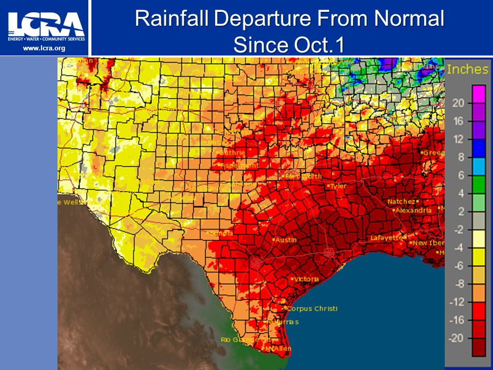 www.lcra.org Rainfall Departure From Normal Since Oct.1