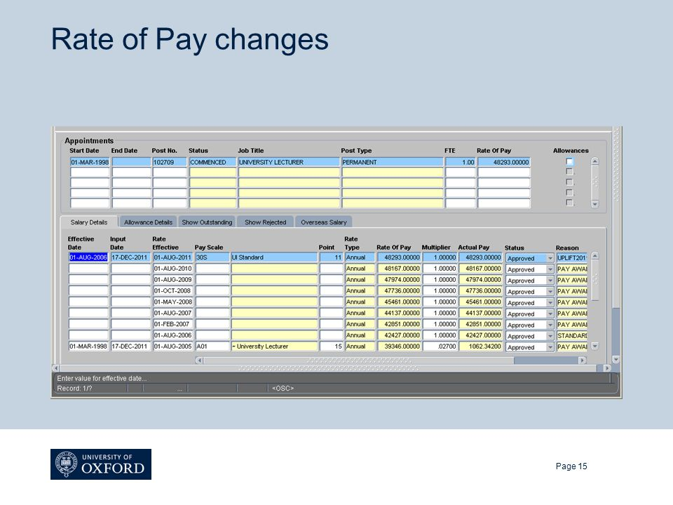 Rate of Pay changes Page 15