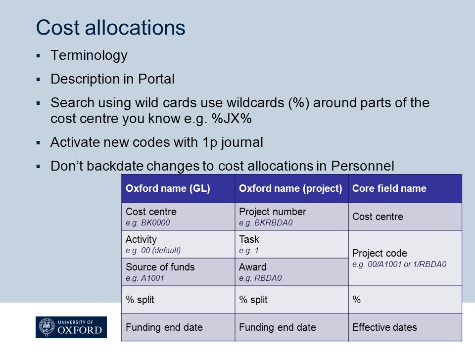 Cost allocations  Terminology  Description in Portal  Search using wild cards use wildcards (%) around parts of the cost centre you know e.g.