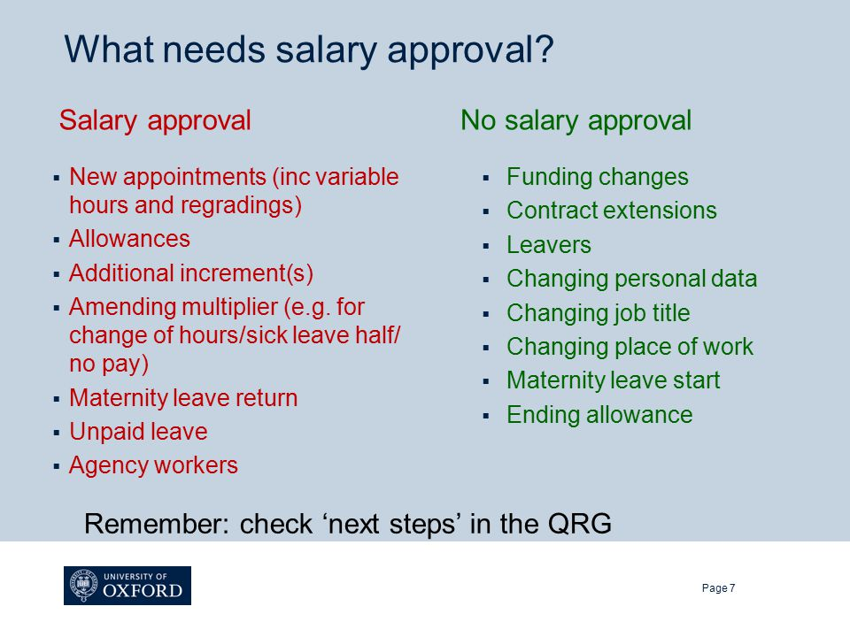 What needs salary approval.